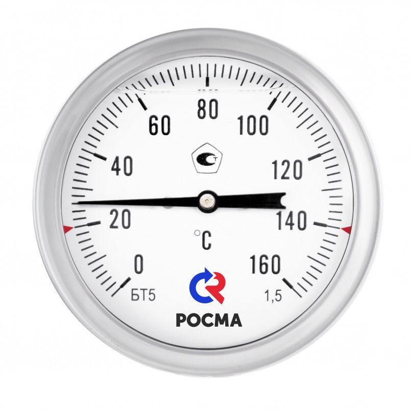 Термометры коррозионностойкие с возможностью гидрозаполнения силиконом (осевое присоединение), модель  БТ-51.220 Силикон