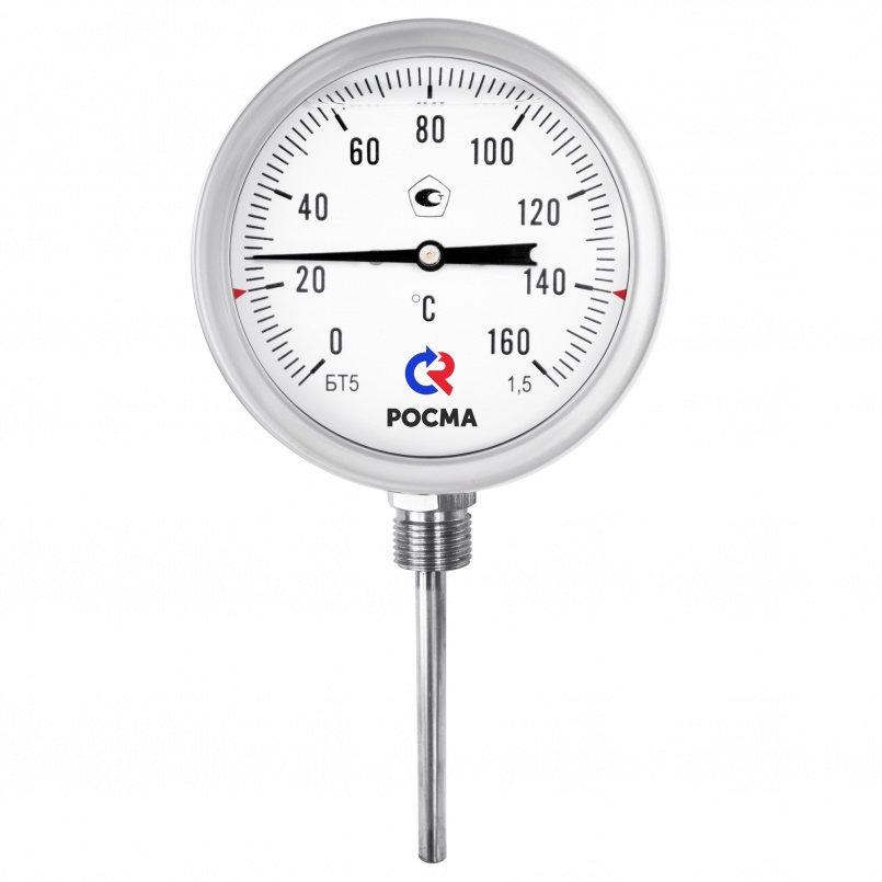 Термометры коррозионностойкие с возможностью гидрозаполнения силиконом (радиальное присоединение), модель  БТ-52.220 Силикон