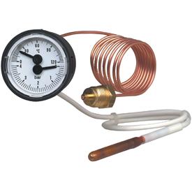 Манометр деформационный с дополнительным устройством для измерения температуры. Модель MFT