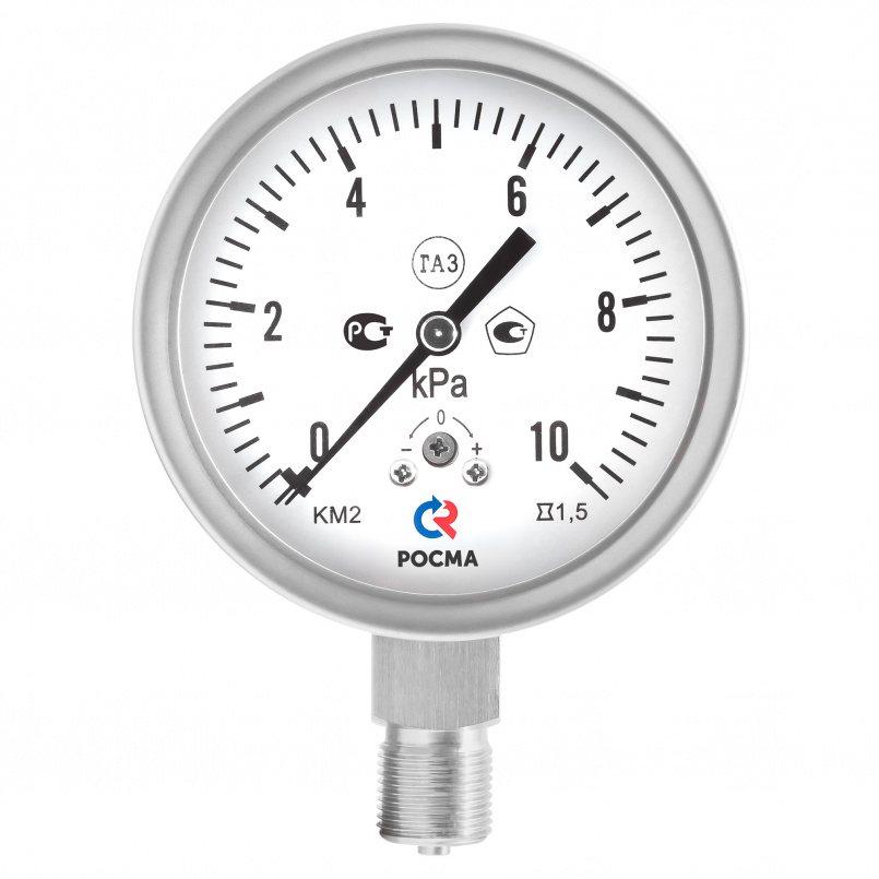 Манометры коррозионностойкие для измерения низких давлений газов, модели КМ-22 Кс, КМ-32 Кс, КМВ-22 Кс