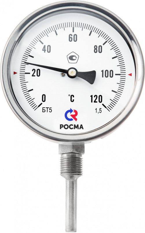 Термометры коррозионностойкие (радиальное присоединение), модели БТ-52.220, БТ-72.220